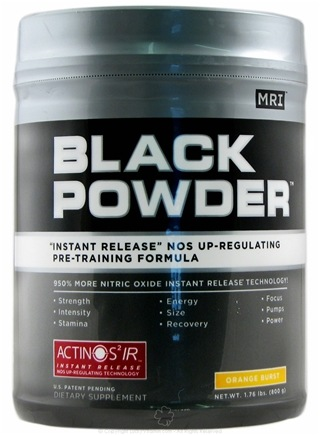 DROPPED: MRI: Medical Research Institute - Black Powder Instant Release Pre Training Formula Orange Burst - 1.76 lbs. CLEARANCE PRICED