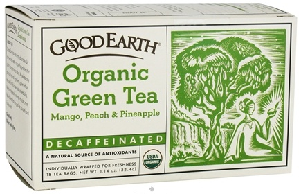 DROPPED: Good Earth Teas - Organic Green Tea Decaffeinated Mango Peach & Pineapple - 18 Tea Bags