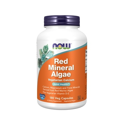 NOW Foods - Red Mineral Algae Vegetarian Calcium - 180 Vegetarian Capsules