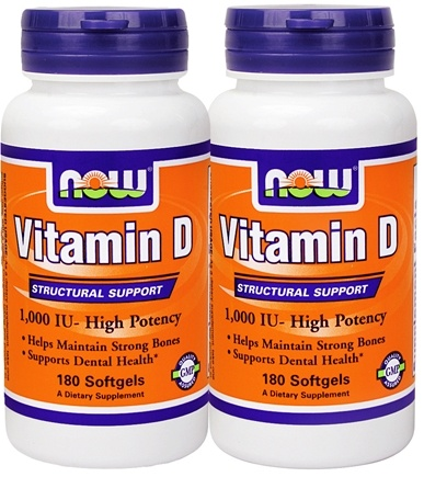DROPPED: NOW Foods - Vitamin D3 High Potency 180+180 Twin Pack 1000 IU - 360 Softgels