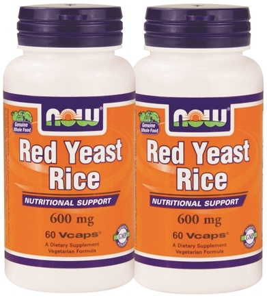 DROPPED: NOW Foods - Red Yeast Rice 60+60 Twin Pack 600 mg. - 120 Vegetarian Capsules