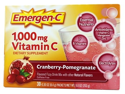 Alacer - Emergen-C Vitamin C Energy Booster Cranberry Pomegranate 1000 mg. - 30 Packet(s)