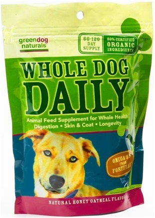DROPPED: Green Dog Naturals - Whole Dog Daily 60-120 Day Supply Natural Honey Oatmeal Flavor - 300 Grams CLEARANCE PRICED
