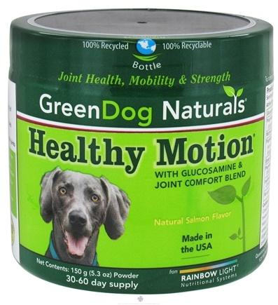 DROPPED: Green Dog Naturals - Healthy Motion with Glucosamine & Joint Comfort Blend Powder 30-60 Day Supply Natural Salmon Flavor - 5.3 oz. CLEARANCE PRICED