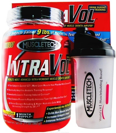 DROPPED: Muscletech Products - IntraVol With Free Shaker Bottle Icy Fruit Punch - 2.11 lbs. CLEARANCE PRICED