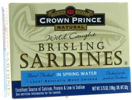 DROPPED: Crown Prince Natural - Brisling Sardines in Spring Water - 3.75 oz. CLEARANCE PRICED