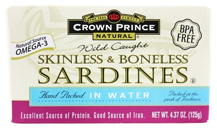Crown Prince Natural - Skinless and Boneless Sardines in Water - 4.37 oz.