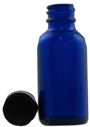 DROPPED: Frontier Natural Products - Cobalt Blue Glass Boston Round Bottle with Cap - 1 oz. CLEARANCED PRICED