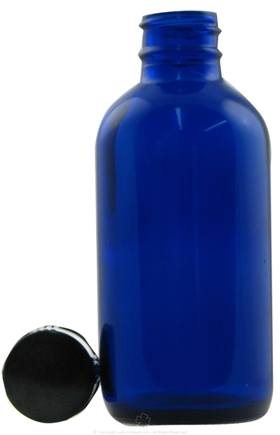 DROPPED: Frontier Natural Products - Cobalt Blue Glass Boston Round Bottle with Cap - 4 oz. CLEARANCE PRICED