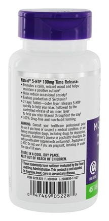 Buy Natrol - 5-HTP Time Release Mood & Stress Support 100 mg. - 45 Tablets at LuckyVitamin.com