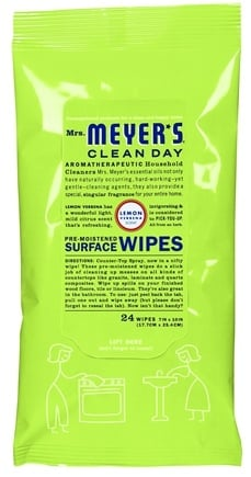 DROPPED: Mrs. Meyer's - Clean Day Pre-Moistened Surface Wipes Lemon Verbena - 24 Wipe(s)