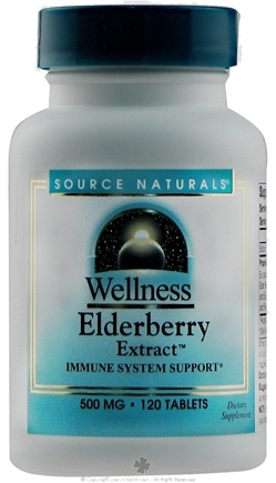 DROPPED: Source Naturals - Wellness Elderberry Extract 500 mg. - 120 Tablets CLEARANCE PRICED