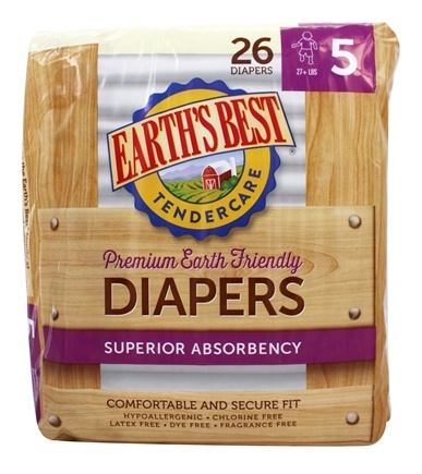 DROPPED: Earth's Best - TenderCare Chlorine Free Diapers Size Five 27+ lbs. - 25 Diaper(s) CLEARANCE PRICED