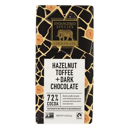Endangered Species - Dark Chocolate Bar with Hazelnut Toffee 72% Cocoa - 3 oz.