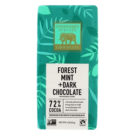 Endangered Species - Dark Chocolate Bar 72% Cocoa Forest Mint - 3 oz.