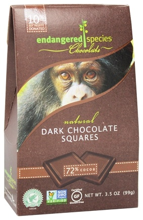 Endangered Species - Dark Chocolate Squares Bite Size Bars 72% Cocoa - 10 Piece(s)