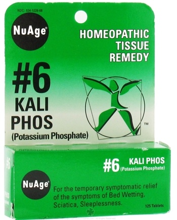 DROPPED: NuAge - #6 Kali Phos Homeopathic Tissue Remedy - 125 Tablets CLEARANCE PRICED