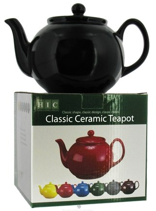 DROPPED: Harold Import - Teapot 6 Cup Ceramic English Style Matte Black - 32 oz. CLEARANCE PRICED