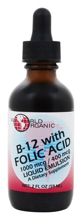World Organic - B12 with Folic Acid 1000 mcg/ 400 mcg - 2 oz.