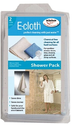 DROPPED: E-Cloth - Shower Pack with Suction Hook - 2 Cloth(s) CLEARANCE PRICED