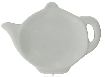 DROPPED: Harold Import - Tea Bag Caddy Porcelain White Teapot Design - CLEARANCED PRICED