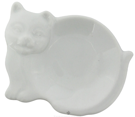 DROPPED: Harold Import - Tea Bag Caddy Porcelain White Cat Design - CLEARANCE PRICED