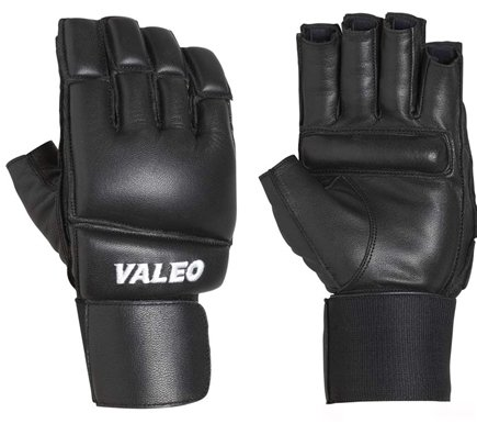 DROPPED: Valeo Inc. - Leather Bag Gloves with Wrist Wraps- Black- Large - 1 Pair CLEARANCE PRICED
