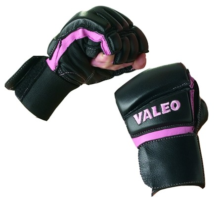 DROPPED: Valeo Inc. - Women's Leather Bag Gloves with Wrist Wraps- Black/Pink- Large - 1 Pair