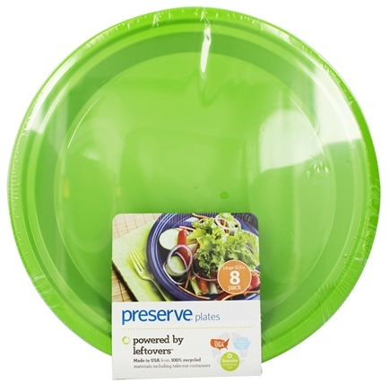 Zoom View - Reusable Recycled Plastic Plates Large 10.5 inch Apple Green