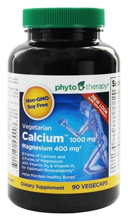 Phyto Therapy - Vegetarian Calcium 1000 mg with Magnesium 400 mg - 90 Vegetarian Capsules