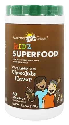 DROPPED: Amazing Grass - Kidz SuperFood Powder 60 Servings Outrageous Chocolate Flavor - 12.7 oz.