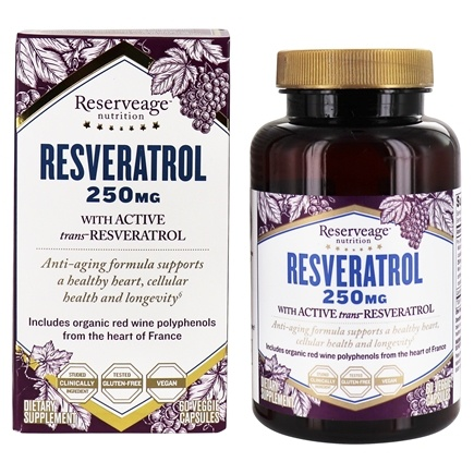 Reserveage Nutrition - Resveratrol 250 mg. - 60 Vegetarian Capsules