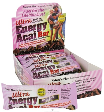 DROPPED: Nature's Plus - Ultra Energy Acai Bar Chocolate Berry 1000 mg. - 2.1 oz. CLEARANCED PRICED