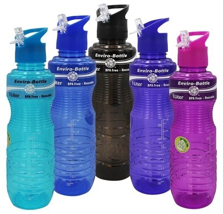 New Wave Enviro Products - Water Bottle BPA Free Assorted Colors - 1 Liter