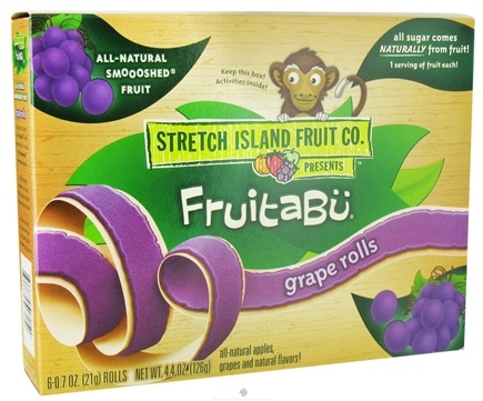 DROPPED: Stretch Island Fruit - Fruitabu Smoooshed Fruit Rolls  (6 x .7 oz) Grape - 4.4 oz.