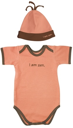 Zoom View - Small Footprints Organic Cotton Bodysuit/Hat Set I Am Zen 3-6 Months