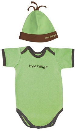 Zoom View - Small Footprints Organic Cotton Bodysuit/Hat Set Free Range 3-6 Months