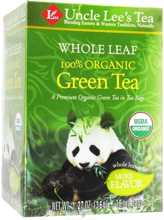 DROPPED: Uncle Lee's Tea - Whole Leaf 100% Organic Green Tea - 18 Tea Bags CLEARANCE PRICED