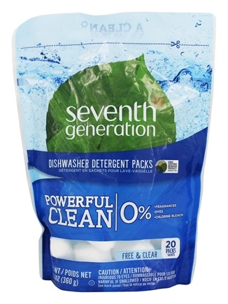 Seventh Generation - Automatic Dishwasher Detergent Concentrated Pacs Free and Clear - 14.1 oz.