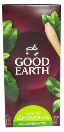 DROPPED: Good Earth Teas - Green Tea Lemongrass Decaffeinated - 25 Tea Bags
