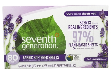Seventh Generation - Natural Fabric Softener Sheets Blue Eucalyptus and Lavender - 80 Sheet(s)