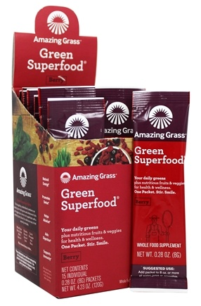 Amazing Grass - Green SuperFood Drink Powder Packets Berry Flavor - 15 Packet(s)