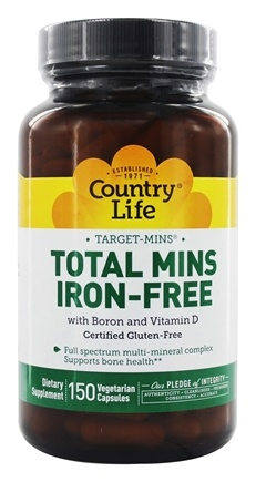 Country Life - Target-Mins Total Mins Multi-Mineral Complex with Boron and Vitamin D Iron-Free - 150 Vegetarian Capsules