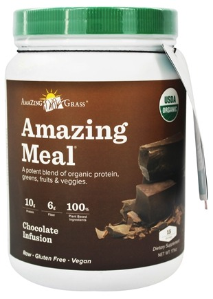 Amazing Grass - Amazing Meal Powder 15 Servings Chocolate Infusion - 17.3 oz.