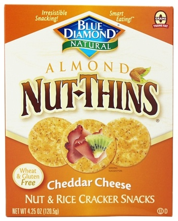 Blue Diamond Growers - Almond Nut-Thins Nut & Rice Cracker Snacks Cheddar Cheese - 4.25 oz.