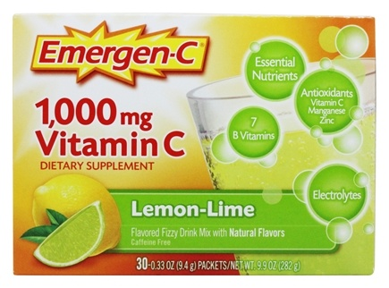 Alacer - Emergen-C Vitamin C Energy Booster Lemon-Lime 1000 mg. - 30 Packet(s)