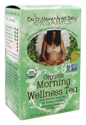 Earth Mama Angel Baby - Organic Morning Wellness Tea Comforting Ginger Mint - 16 Tea Bags