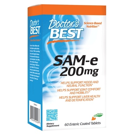 Doctor's Best - SAMe Pharmaceutical Grade 200 mg. - 60 Enteric-Coated Tablets