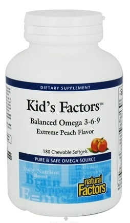 DROPPED: Natural Factors - Kid's Factors Balanced Omega 3-6-9 Extreme Peach Flavor - 180 Chewable Softgels Formerly Learning Factors