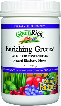 DROPPED: Natural Factors - Green Rich Enriching Greens Blueberry Flavor - 10 oz. CLEARANCE PRICED